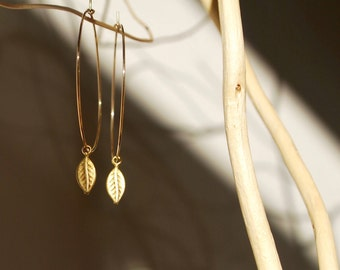 Large Leaf Charm Hoop Earrings / Gold Vermeil / 925 Sterling Silver / Nature / Mother's Day / Valentine's / Christmas / Gifts For Her