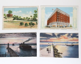 Muskegon, Michigan Vintage Post Cards - 1940s Lake and Nature Scenes - Set of Four