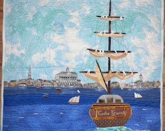 Award Winning Wall Hanging Art Quilt CELIA GARTH Sailing Ship Charleston Harbor Beautiful Blue Sky with Clouds Hand Drawn Skyline