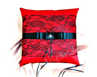 Red and black lace wedding ring bearer pillow.  Red satin wedding ring cushion.