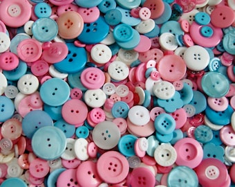 100 Buttons Pink Blue White Button Mix, Perfect Baby Mix, Assorted sizes, Sewing Buttons, Grab Bag,Crafting, Jewelry (1459)