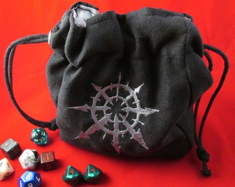 Drawstring Black Suede Warhammer 40K Eye of Chaos Embroidered Dice Bag or Pouch