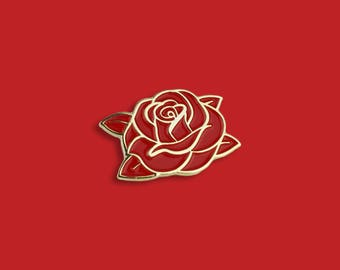 Classic Swarm Red Rose Lapel Pin