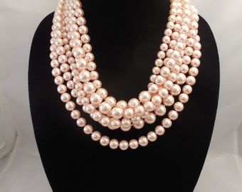 Very Elegant Wedding Bridal, Chunky Multi Strand Necklace with Blush Peach Pink Glass Pearls