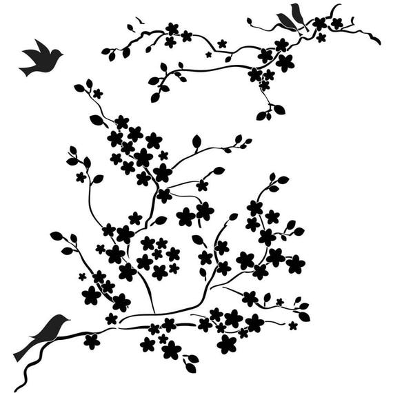 """Cherry Blossoms with Birds, 6 x 6"""" Stencil /  template design perfect for mixed media, scrapbooking, journaling and so much more"""