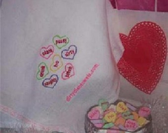 Naughty Candy Hearts Dish Towel