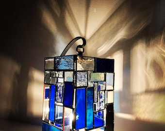 Abstract Blues Stained Glass Table Lamp