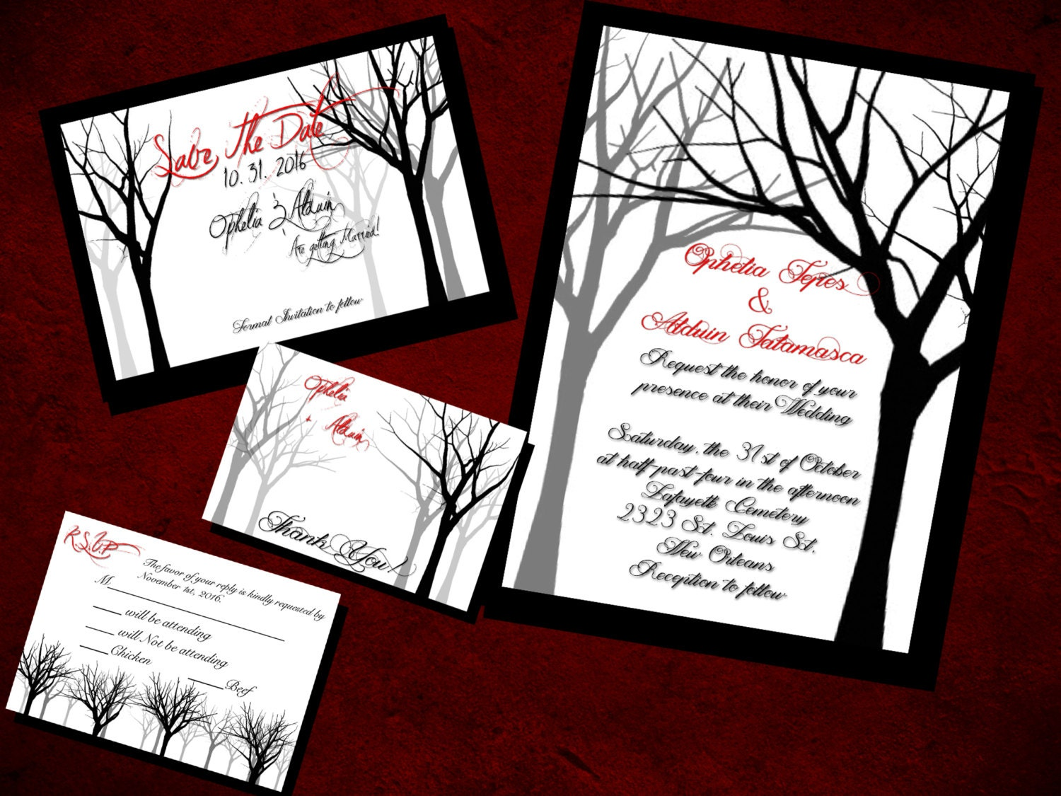 In the Dead Trees Wedding Invitation Save the Date RSVP and