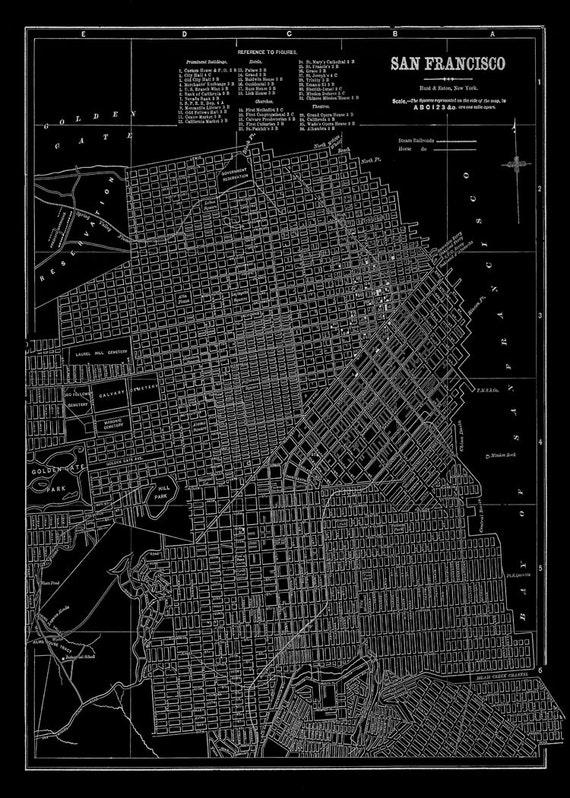 San Francisco Map Black Street Map Vintage