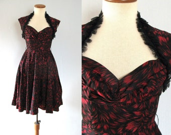 black lace dress - 50s vintage red metallic swirl novelty print sweetheart neck cocktail party full skirt fit flare mid century ruched bust