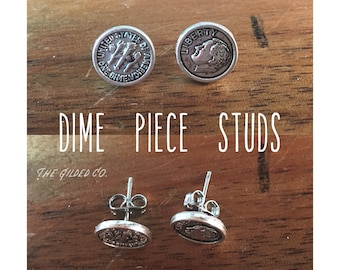 Dime Piece Studs — 9mm silver + stainless steel miniature american currency money ten cents dainty OOAK fun whimsical nashville rochester