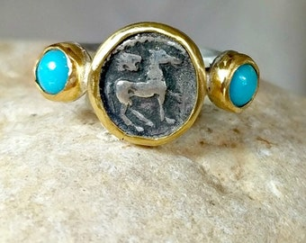 Ancient Coin Ring, Statement Ring , 22 kt yellow gold and turquoise ring, Horse Coin Ring, ancient coin jewelry
