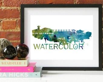 Watercolor Skyline, Watercolor Skyline, Watercolor Art, Watercolor Poster, Watercolor Print, Watercolor Art, Watercolor Map, Watercolor Wall