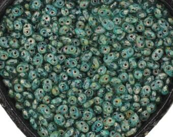 20g Czech SuperDuo 2 hole beads Aqua PICASSO 2.5x5mm [C1]