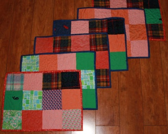 Placemats, Memory placemats,  Memory quilts, sympathy, Grief and mourning, remembrance, t shirt quilt, clothing quilt, repurposed clothes