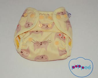 puppee pul diaper cover size S cat snaps