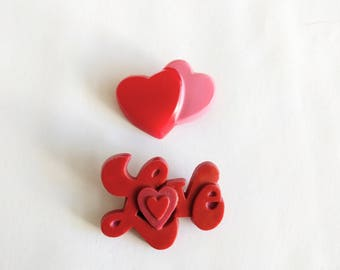 Vintage Valentine's day pin lot heart Love red pink amscan plastic brooch holiday novelty jewelry