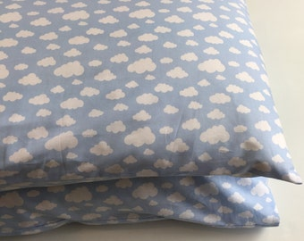 Pillowcase, pillow cover, large memory foam size and standard size in soft blue with white clouds