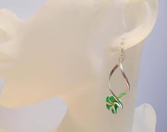 Spiral Stud Earrings green flower original