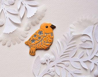 Blue- orange bird brooch, orange bird jewelry, porcelain brooch