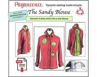 PDF Sandy Blouse Pattern & Double Collar. Sewing pattern for women. Transforms dress shirts to art! Woman's Blouse. Embroidery, Wearable Art