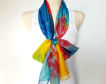 Large Silk Scarf Women Silk Scarves Blue Silk Scarf Red Silk Scarf Yellow Silk Scarf Women Scarfs 05 Women Gift for Mother Summer Outdoor