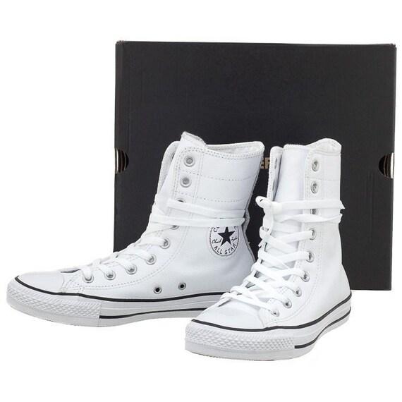 White Converse Boot Leather Wedding High Top Lux Hi Rise Ladies Custom w/ Swarovski Crystal Rhinestone Jewels Trainers Bridal Sneakers Shoes