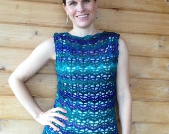 Handmade Crochet Women's Sleeveless Tank Tunic Sweater, Spring tops, Summer tops, boatneck sweater