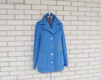 70s nautical blue jacket, vintage blazer with pockets, 1970s clothing Ted Martin, polyester outerwear, size small