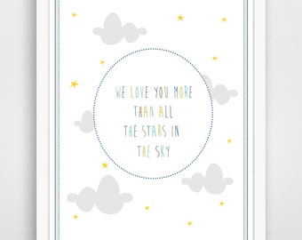 We Love You More Than All The Stars in the Sky Blue Typography Nursery Wall Art Print