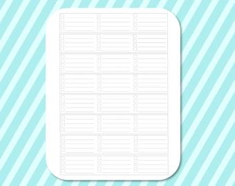Printable Erin Condren Horizontal Checklist Bottom Bar Stickers for Silhouette Studio, Erin Condren, Happy Planner, Filofax
