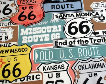 Fabric, Historic 66 in Sage, Classic Trip Route, Street Signs, USA Travel, Alexander Henry Fabric, By the Yard