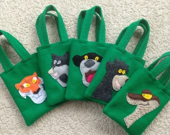 JUNGLE BOOK PARTY/ felt party bags/party supplies /