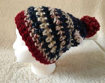 The Denim Stripe Pom Pom Hat | Crochet Hat in Hudson Bay, Blue and Cranberry Acrylic/Wool Blend Yarn | Soft, Warm | Boy or Girl | Kid's Size
