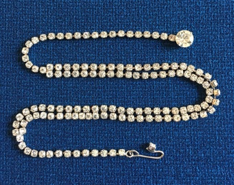 Brides Clear Rhinestone Necklace, Signed Kramer Choker, Vintage 1950s, Round Rhinestones, Something Old Bridal Wedding Jewelry