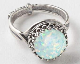 Silver Opal Ring, White Opal Ring, Silver Filigree Ring with Adjustable Band, Statement Ring, Cocktail Ring, October Birthstone Jewelry Gift