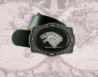 Wolf Head Belt Buckle Inlaid in Hand Painted Glossy Black Enamel Metal Buckle with Assorted Color Options