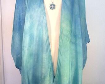 Seide Kimono - Hand gefärbte Seide - Seafoam Aqua gefärbter in schimmernder Seide Habotai-Größe XL-2 X