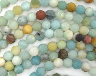 6mm Matte Amazonite, Frosted Round Beads, 1 Strand, Natural Stone Ball Beads, 15 inch strand, Genuine Stone Beads for Jewelry or Beading