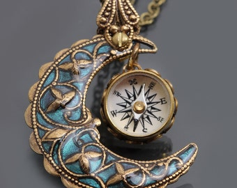 Moon Necklace Sailor Moon Necklace Compass Necklace