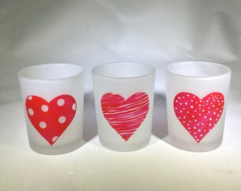 Set of 3 Valentine Votive Candle Holders - Hand Painted Hearts Frosted Glass Candle Holders