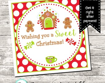 Gingerbread House Gingerbread Man Wishing You A Sweet Christmas Favor Tag Printable Digital INSTANT DOWNLOAD