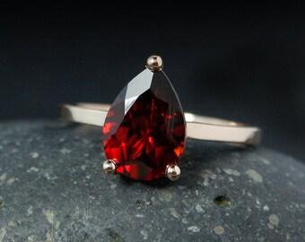 Teardrop Red Garnet Engagement Ring – Choose Your Setting