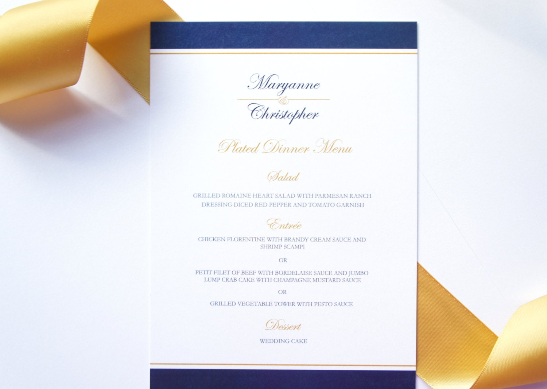 Blue and Gold Menu Card Elegant Menu Navy Blue Wedding Menu