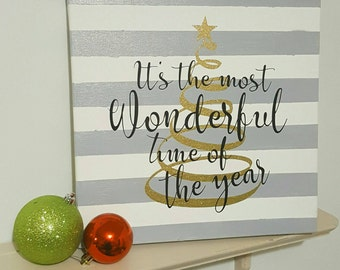 It's The Most Wonderful Time of the Year 12x12 Glitter Christmas Canvas