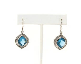 Sterling Silver Blue Topaz Dangle Earrings with French Wires