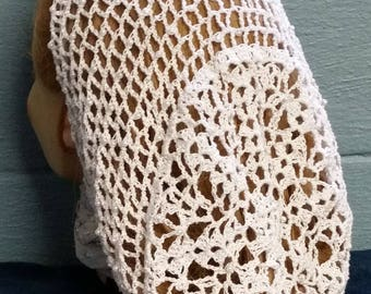 """Lacy Bouquet Snood Pattern - Beaded Alternating Rows in Metallic Combination thread-Long 10"""" Length"""