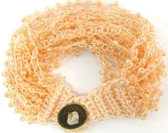 """Glass seed bead crochet bracelet 8"""" pink 11945"""
