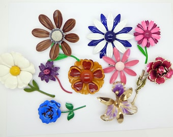 Enamel Flower Lot, 10 pins, Flower Brooches