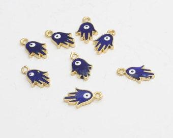 5/10/50/100 Evil Eye Hamsa, 24k Gold Plated Hamsa, Evil Eye Hamsa, Hamsa Charms, Bracelet Pendant, Hamsa Connector, 8x13mm , zrcn286